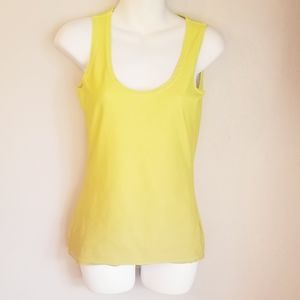 Nia wear yellow ombre tank top stretchy material